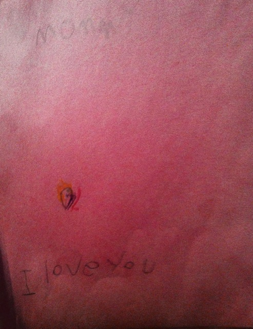 "It says: ""Mommy,"" at the top and that teensy picture is me. Then it says, ""I love you."""